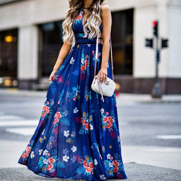 91a8efbf6b Express Dresses   Skirts - Floral Print Strappy Cut-Out Plunge Maxi Dress